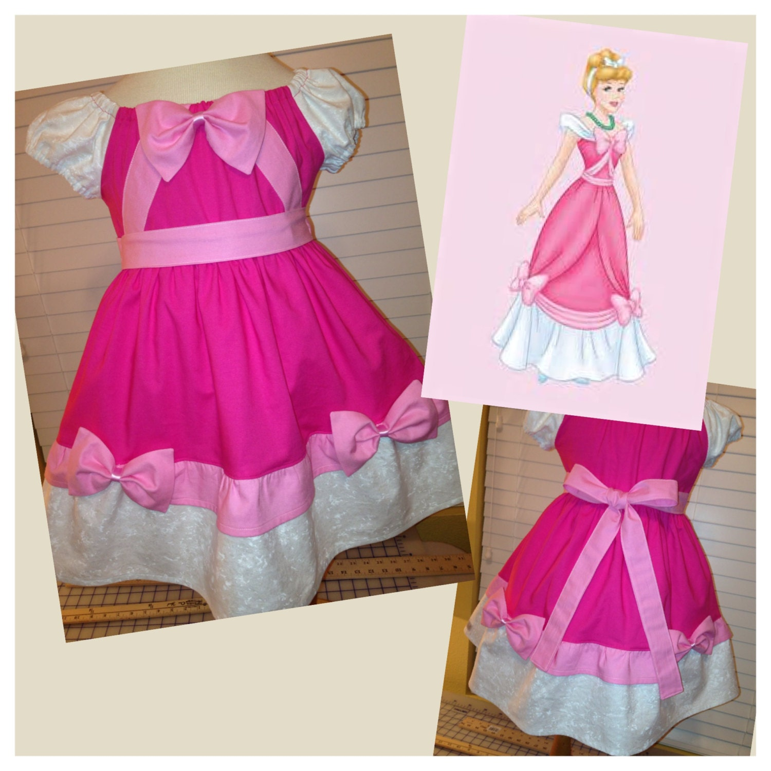 Cinderella Princess Character Dress Child 3t 4t 5 6 7: Inspired Disney Princess Cinderella Fancy Bow Dress