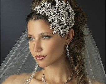 large Vintage couture inspired crystal tiara side hair piece