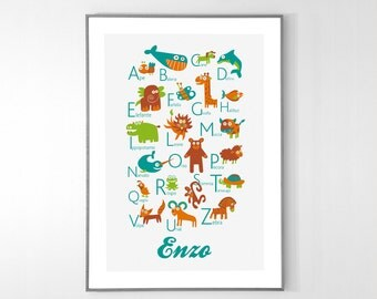 Personalized Italian Alphabet Poster with animals from A to Z, BIG POSTER 13x19 inches - Baby Children Nursery Custom Wall Print Poster