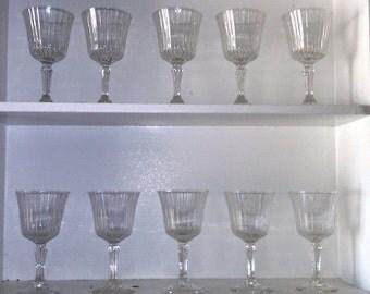 TEN (10) set of 10 beautiful vintage crystal wine glasses