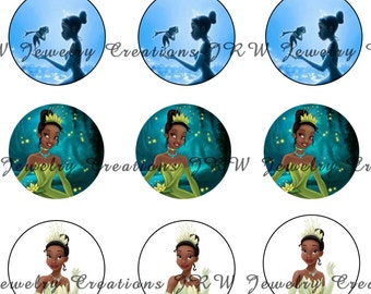 Disney's Princess and the Frog inspired 1 Inch Bottle Cap Images -Tiana
