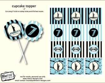 New York Party, Favor Tags and Cupcake Toppers