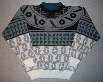 Vintage 80s 90s Hipster Geometric Aztec Hieroglyphics Triangles Sweater Long Sleeve Tacky Gaudy Ugly Christmas Party X-Mas L Large