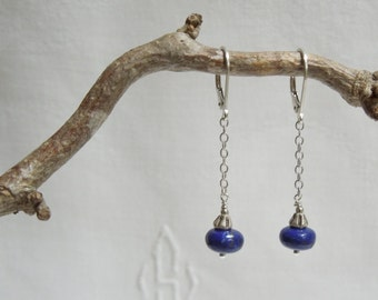 Indigo Blue Earrings: Lapis Lazuli, Hill Tribe Silver, Sterling Silver Chain