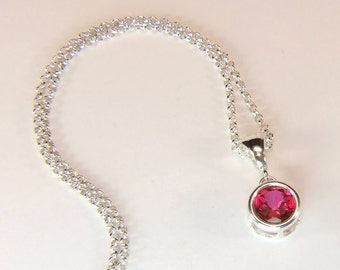 """Intense Pink 'Peony' Topaz, 8mm x 2.28 Carat, Round Cut, Sterling Silver Pendant Necklace, including 18"""" to 20"""" (adjustable) Sterling Chain"""