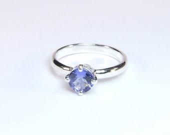 Sparkling Tanzanite (Genuine), 6mm x 0.80 Carat, Round Cut, Sterling Silver Ring