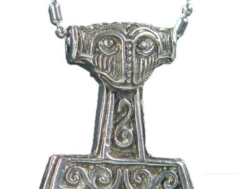 Thor's Hammer Necklace Pewter  Pendant Viking Norse Mjollnir Pagan Wicca 0612K