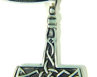 Thor's Hammer Necklace  Pewter  Pendant Viking Norse Mjollnir Pagan Wicca 1815B