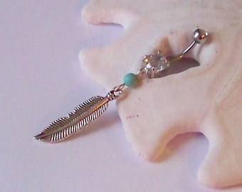 Charm Belly Button Ring - Belly Button Jewelry - Navel Piercing - Silver Long Native American Inspired Feather - Made to Order