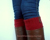 Wine Red Boot Cuffs, Brown Leather, Women legwarmers. Boot socks, legwarmers. Handmade soft organic  knitting.