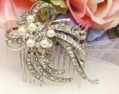 Vintage Style Ribbon Bow Hair Comb, Rhinestone Crystal Faux Pearls Hair Comb, Wedding Hair Comb, Bridal Hair Comb, Crystal Hair Accessory