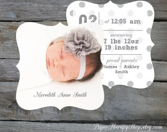 SAMPLE POLKA DOTS Birth Announcement 5x5 ornate shape