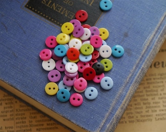 """100 pcs Small 2 Hole Shiny Assorted Colors Buttons 9mm 3/8"""" (MXB2066)"""