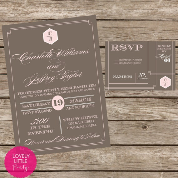 Charlotte Collection Wedding Invitation and RSVP design - DIY Printable - Lovely Little Party - You Choose Color