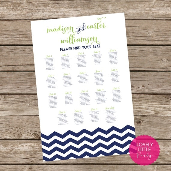 Madison Collection Seating Chart - DIY Printable - Lovely Little Party - You Choose Color