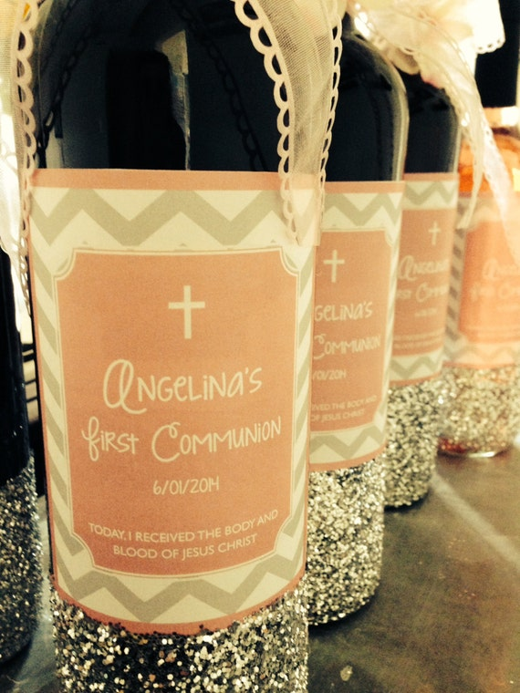 Printable Chevron First Communion Wine Bottle Labels  - You Choose Color - LOVELY LITTLE PARTY