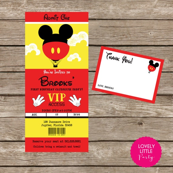 DIY Printable Mickey Mouse Inspired  Invitation Kit - Invite AND Thank You Card included