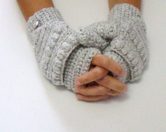 White Gray Mittens, Salt Pepper Mittens, Grey Convertible Fingerless Mittens, Crochet Texting Mittens, Cycling Gloves, Fall Fashion