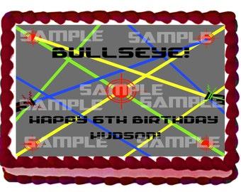 Boy Bullseye Laser Tag Cake Topper