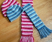 Crochet Pattern - Mod Hat and Scarf Set (3 sizes: toddler, child, teen/adult) - Immediate PDF Download