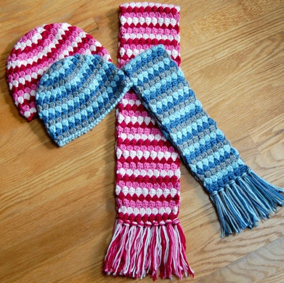 Crochet Pattern Mod Hat and Scarf Set 3 sizes: toddler