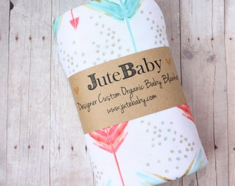 Coral and Aqua Arrow Baby Blanket - Designer Custom | Swaddle Wrap | Toddler Blanket by JuteBaby