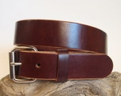 Men's Heavy Duty Leather Belt Brown Rugged Casual / Work / Utility Leather Belt Handmade - Angel Leather