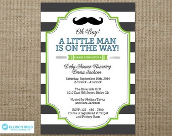 Mustache Invitation - Little Man Invitation - Little Man Baby Shower invitation - Mustache Baby Shower Invitation - Mustache Printable - Boy