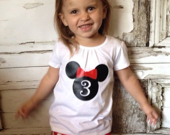 Minnie Mouse Inspired Birthday Girl Top