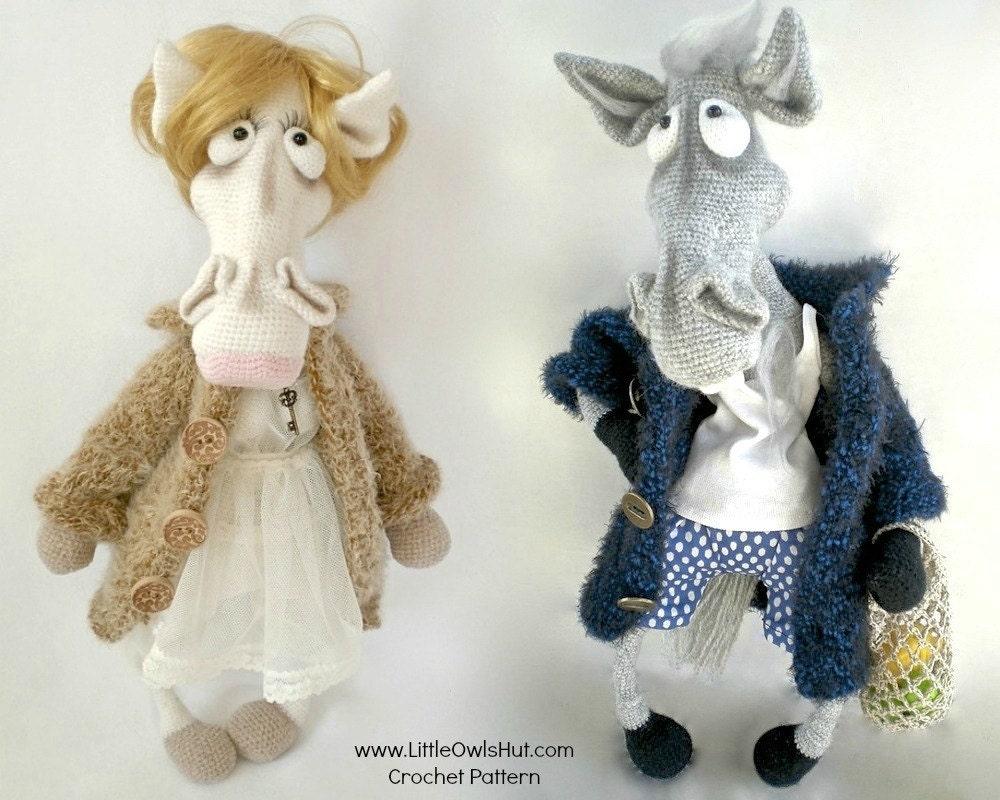Amigurumi Hello Kitty Crochet Pattern : 048 Mrs and Mr Horse in a coat Amigurumi Crochet Pattern PDF