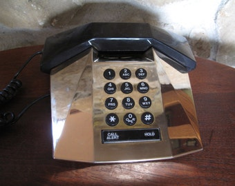 Telequest Prism Vintage Phone, Working, Geometric, Metallic Gold, Futuristic, Modern, Gold,Designer Phone, Plastic and Metal, 1980s