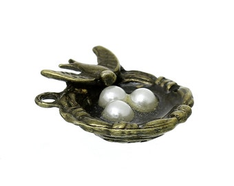 1pc Antique Bronze Birds Nest Pendant - Charm, Jewelry Finding, Jewelry Making Supplies, Necklace, Bracelet, Ships from the USA - N20