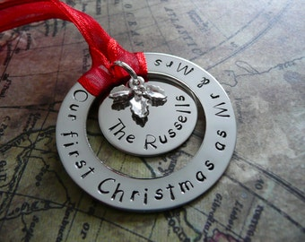 Hand stamped metal washer Christmas ornament, our first christmas as mr & mrs, personalise