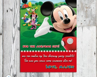 Mickey Mouse Thank You Card, Printable Birthday Party Card, Matching Invitation and Party Printables Available, DIY, YOU PRINT