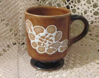 Vintage Brown Glaze Stoneware/Pottery Mug with Floral Design