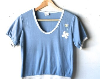 vintage FLORAL blue summer BOXY soft t-shirt scoop neck top womens vintage