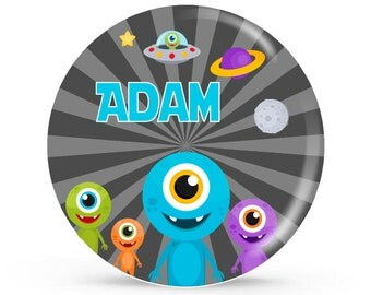 Personalized Plate - UFO - Personalized Plate for Boys