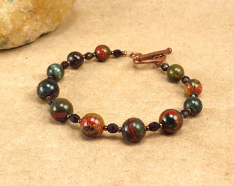 Red Creek Jasper Bracelet - Protection Balance Nurturing - Reiki Infused Energy Bracelet