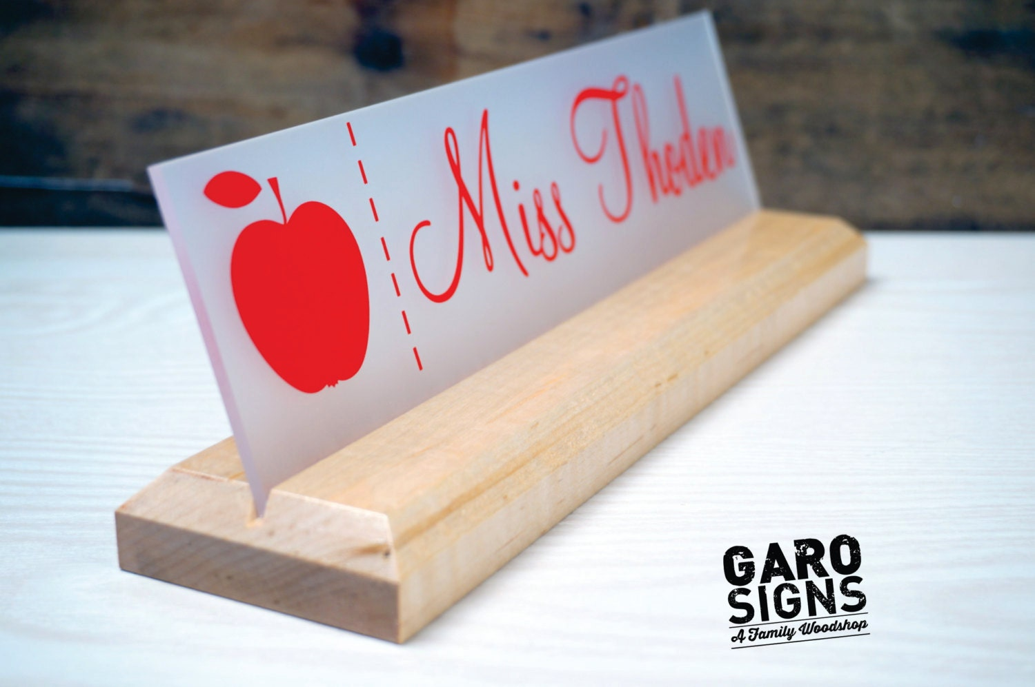 Name Plate: Teacher Classroom Desk Name Plate With LOGO Personalized Wood