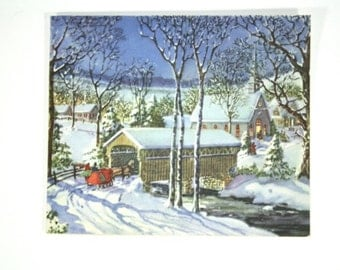 Vintage Christmas Card - 1940s Holiday Greeting Card - Christmas Decorations - Holiday Decor - Winter Sleigh / Covered Bridge / Snowy Scene