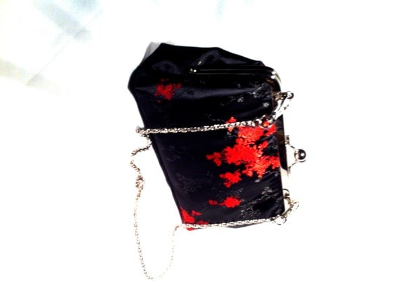 Black/Red Chinese Satin Evening Bag Clutch By JustMyStyleByTess