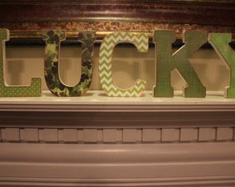 LUCKY: Classic Clover Patch and Chevron wooden letters