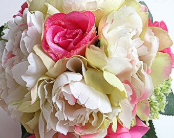 Silk Bridal Bouquet - Faux Bouquet - Artificial Bouquet - Pink, Ivory and Yellow Bouquet - Matching Boutonniere Included