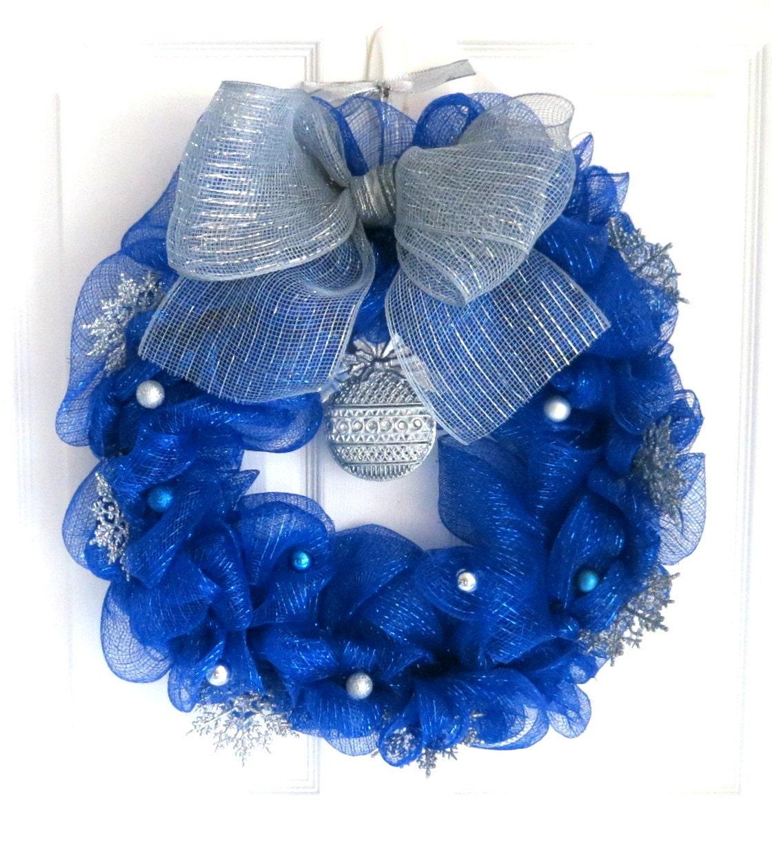 Deco Mesh Wreath Royal Blue Winter Deco Mesh Wreath