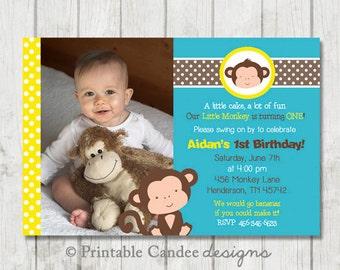 Boy Monkey Birthday Invitation - Yellow and Blue - DIY Custom Printable
