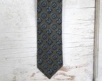 Mens Tie, Vintage Tie, Skinny Tie, Necktie, Olive, Blue, Print Tie, 1950s, 1960s, Mad Men, Atomic, Mens Neckties, Ties, All Vintage Man 54x2