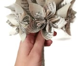Petite Book Paper Flower Bridal / Bridesmaid Bouquet with Wire Stems and White / Silver Ribbon