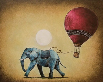 "Art print // Elephant - hot air balloon - full moon // ""8"""