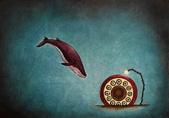 Art Print. Blue Whale Sea. Light
