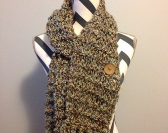 "Beautiful ""Earth"" hand knit scarf"